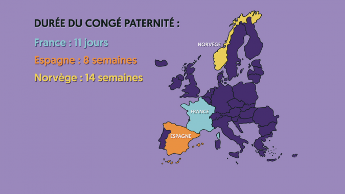 carte des congé paternités en Europe