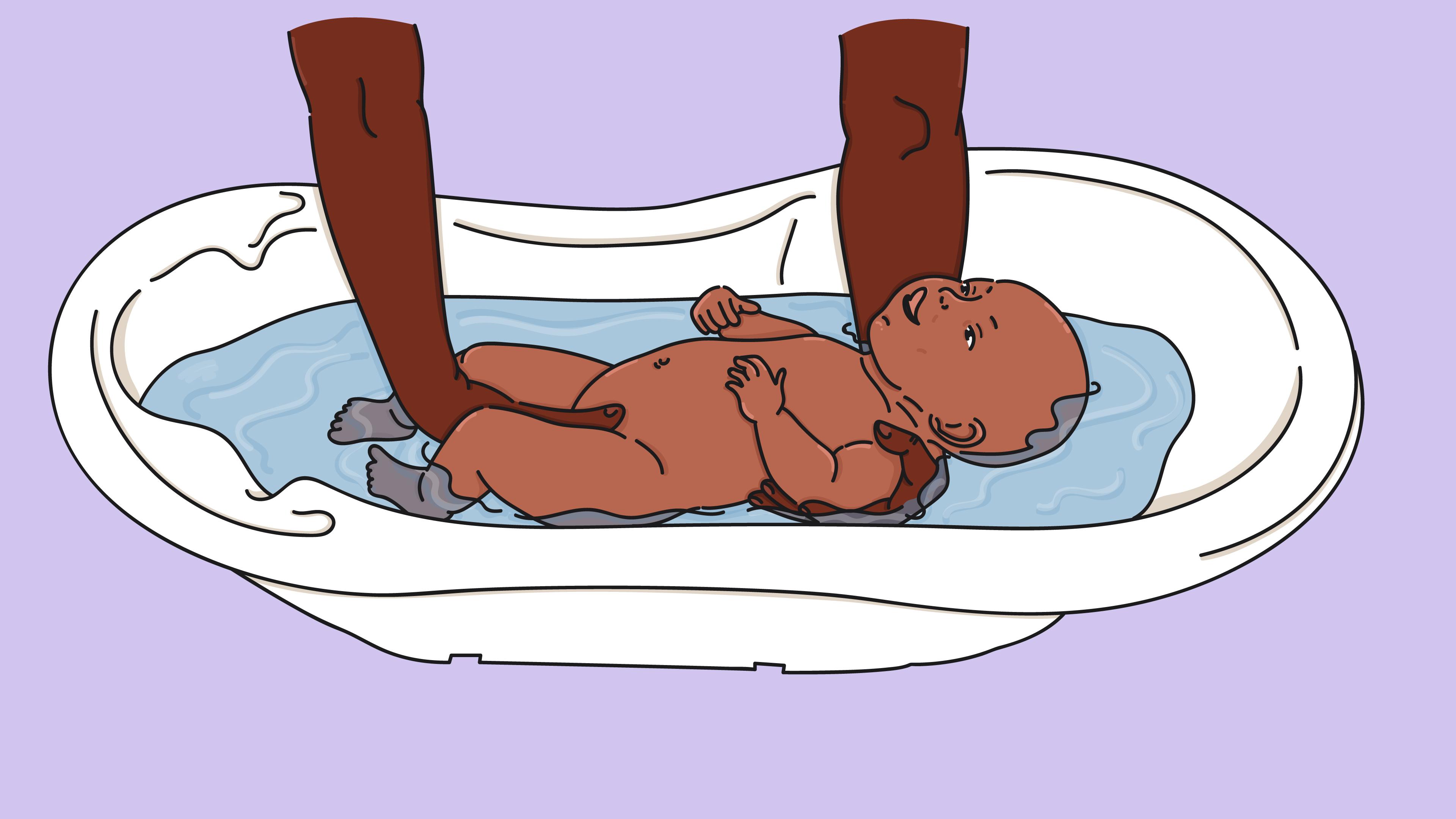 position pince bain bébé